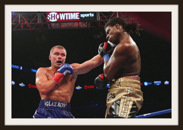 Here we see Vyacheslav Glazkov (l) landing the stiff jab to the chin of his opponent Charles Martin.