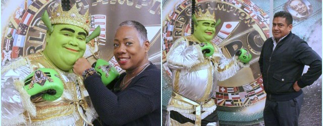 The inhabitants of Tijuana call this man, Tijuana Shrek. Whenever there's a special cause, a fundraiser for cancer or the like, you know you can count on this local hero to respond. As a result, the WBC and Zanfer Promotions have Shrek, aka Hugo Garcia, on speed dial. Also, there will always be fun and games when you have people like Wanda Countiss-Jiles (the Fight Lady) and Juan Carlos Pelayo, the head of officials playing on. All photos: Jim Wyatt