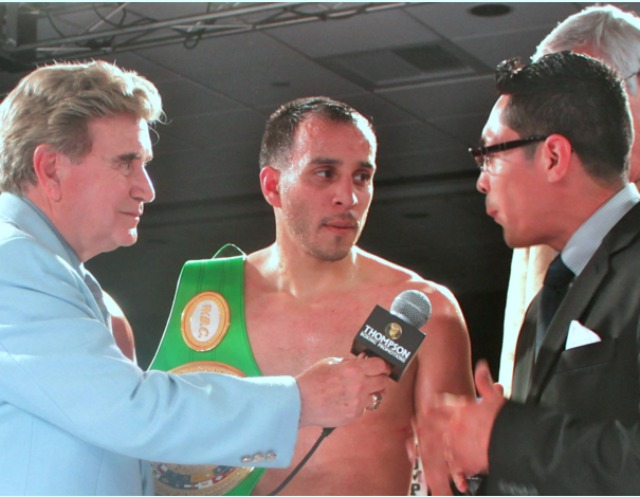 Here we see Christopher Martin being interviewed by the former World Super Bantamweight Champion Israel 'Magnífico' Vázquez after another of Martin's big wins at the Doubletree Hotel in Ontario, Calif. All photos: J. Wyatt