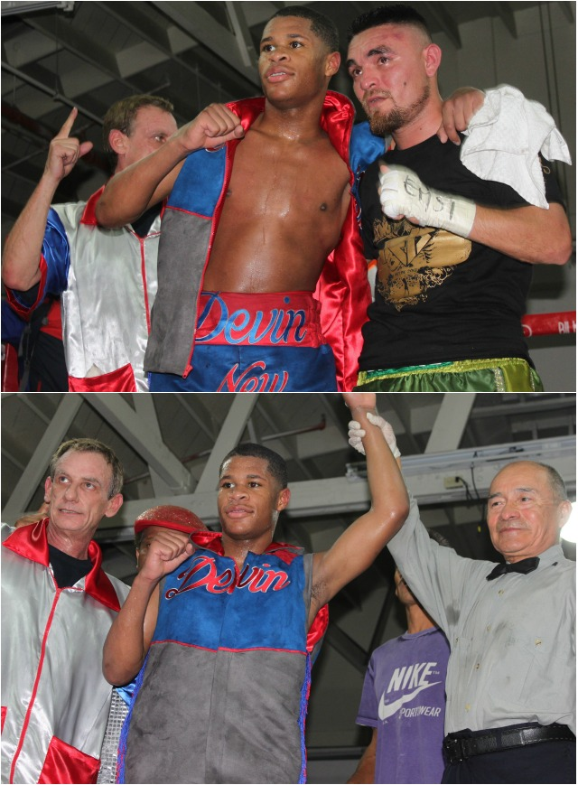 (photo bottom) Devin Haney has his arm raised in victory by veteran referee Juan Morales Lee.