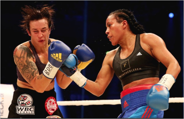Cecila Braekhus is shown unloading a lethal uppercut on her opponent