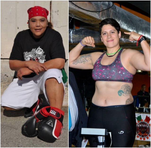 "These two gals, Alejandra ""La Tigre"" Jimenez (r) and Martha Elena ""Shadow"" Salazar (kneeling) will be facing each other on March 18, 2016 in Cancun, Quintana, Mexico to decide who will become the first WBC Female Heavyweight Champion of the World."