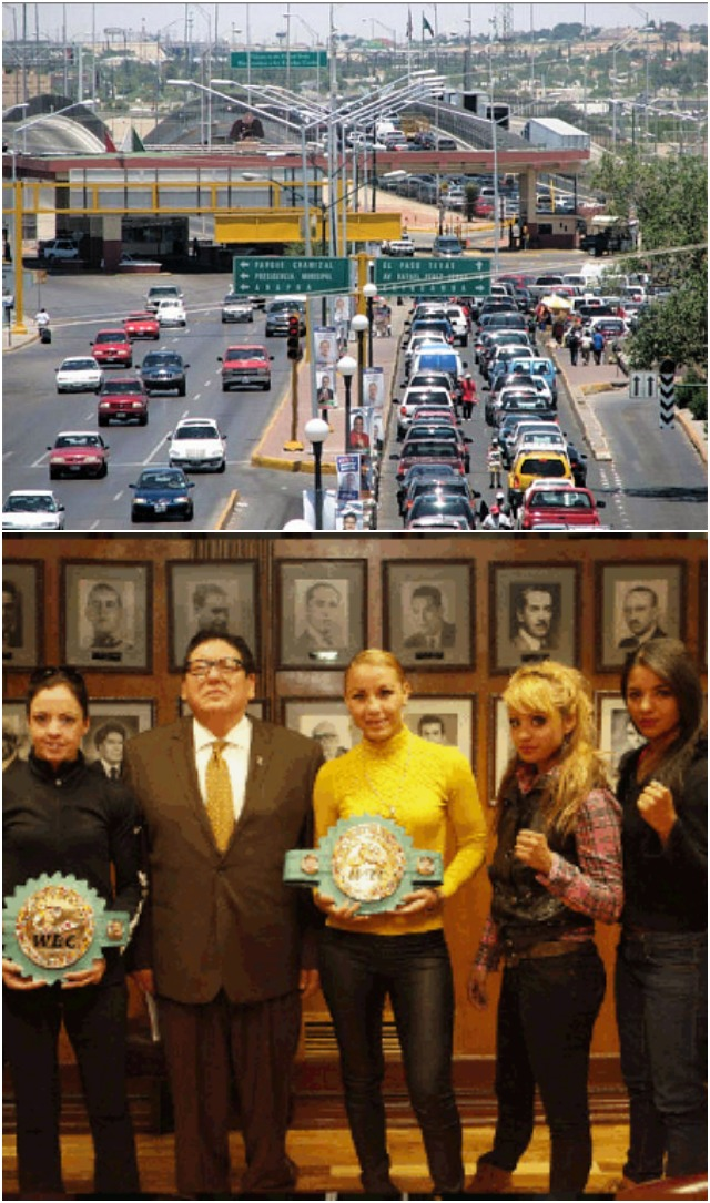 "(top)The well known point of entry between El Paso, Texas and Ciudad Juárez, Chihuahua, Mexico. Prior to their title fight, the young ladies on Saturday's fight card, to include the headliners, Christina McMahon (l) and Zulina ""La Loba"" Munoz (r) paid a courtesy call to Javier Gonzalez Mocken's office, the mayor of El Ciudad Juarez. The mayor wished them luck and took the opportunity to congratulate all the women on International Women's Day. On that occasion, Munoz presented the Mayor a pair of signed pink gloves which she wore on March 2, 2013 when she made the first defense of her WBC world title against Tenkai Tsunami."