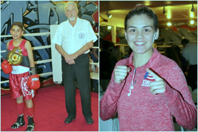 (l to r) Christian Rivera winner by default in Bout #1 and one of the show's hosts Andrea Medina, National Champion and two time Junior Olympic Champion.