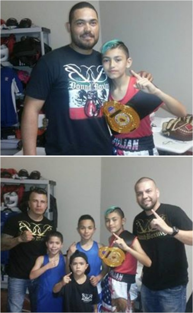 You can't beat teamwork - in the photo above we Julian Rojas posing for a photo with his proud father. Below, the victorious Bound Boxing Academy boxing
