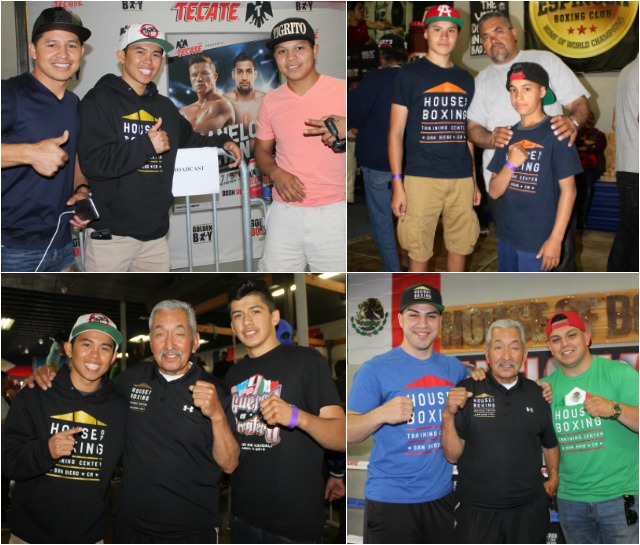 (top, left, l to r) Nico Marchan (c) poses for a photo with his gym mates Maynor and Hugo Roldan. (top, right) The Munoz family, son Manuel, father Jose and youngest boy Sebastian Munoz. (Jim Wyatt)