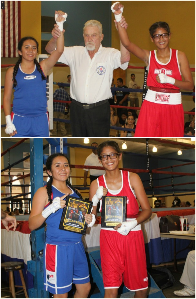 Still good friends, the two boxers, Gabriela Fundora and the cunning Roxana Ortiz