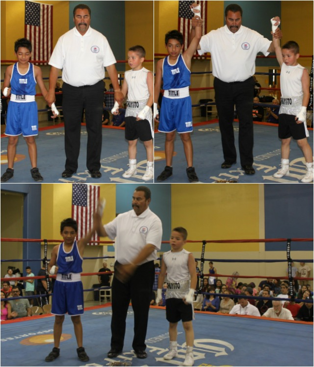 In Bout #8 it was 10-year-old Diego Nunez (68 pounds, experience: 10 bouts) from the Indio Boys & Girls Club, Indio, Calif. coming away with the victory over 10-year-old Jesus Bojorquez (65.2 pounds, experience: 10 bouts) from the San Luis PAL.