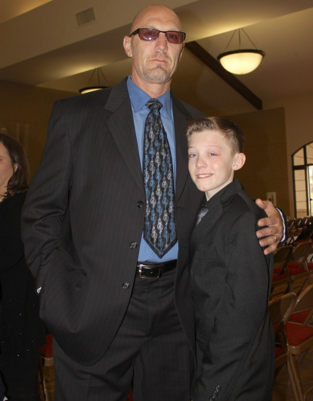 Here stands Master Nick Blumgren with his proud son.