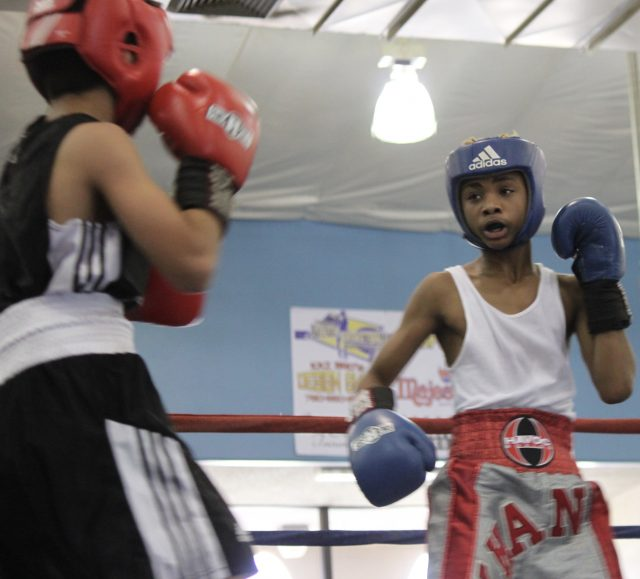 In Bout #2 it was 13-year-old Dorian Khan (95.6 pounds, experience: 2 bouts) from F-1, Fighters First Boxing Academy, Buckeye, Arizona coming away with the victory over 12-year-old Julius Ballo of the Bombers Squad in El Cajon, Calif. (91 pounds, experience: Open).
