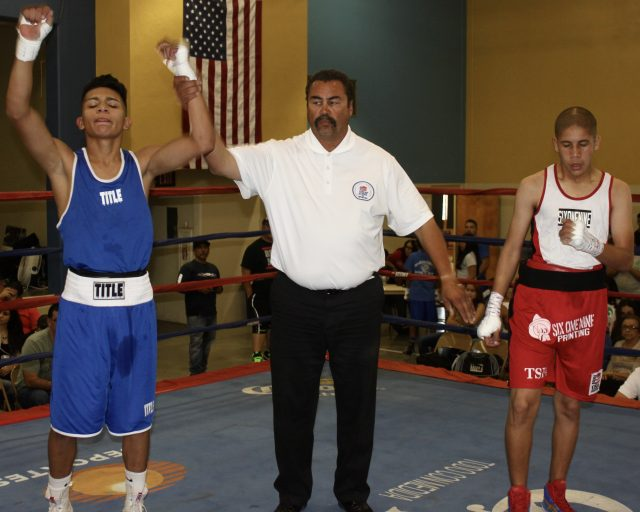 In Bout #3 it was 15-year-old Jose Ortega (119.2 pounds, experience: 22 bouts) of Calexico Boxing, Calexico, Calif. coming away with the victory over 14-year-old Carlos Sanchez of the Bombers Squad, El Cajon, Calif. (118.6 pounds, experience: 48 bouts).