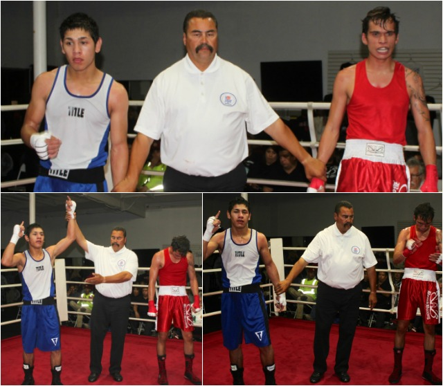 """At the conclusion of bout #9, we see Ulises """"Gallo"""" Bastida having his arm raised in victory after he defeated the always tough Matthew Knight."""