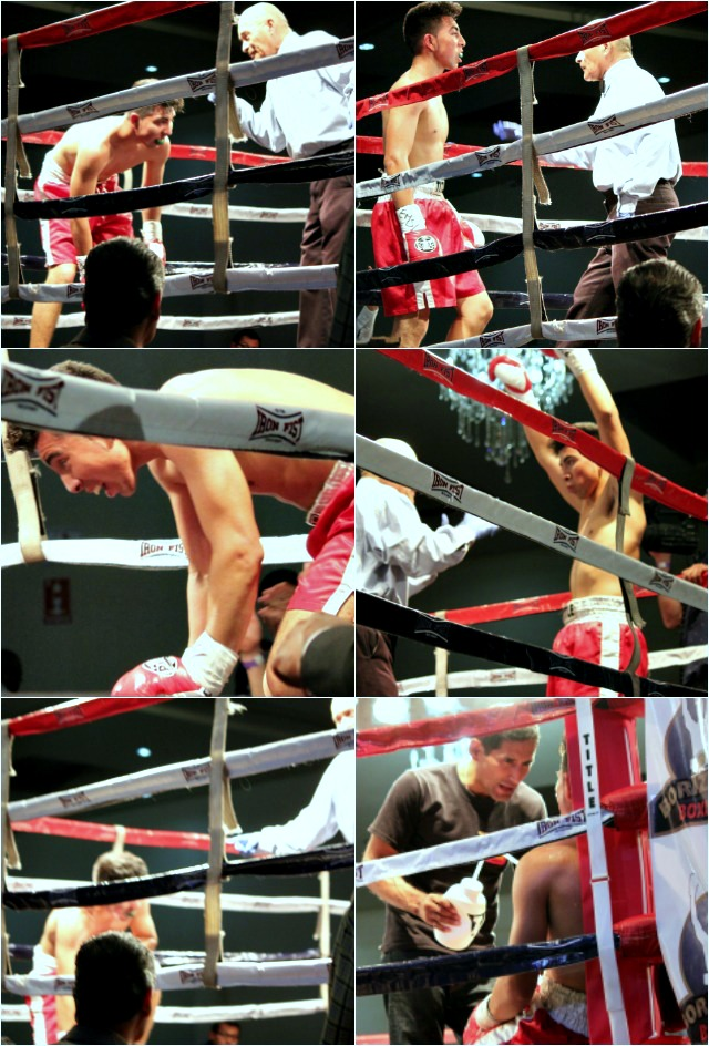 From the opening bell, Juan Delgado (red trunks) was battered from one corner to the other by Hector Lopez Jr.