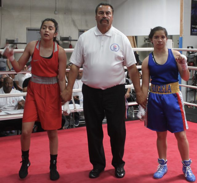 The combatants in Bout #18, (l to r) Destiny Diaz and Angela Murillo
