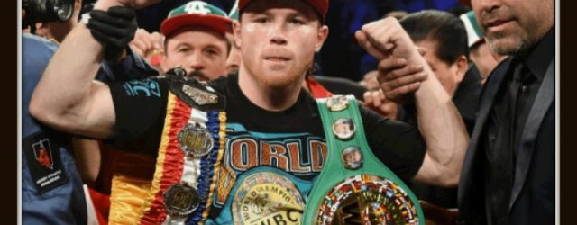 "After the demolition of Amir Khan on Saturday night at the new T-Mobile Stadium in Las Vegas, Saul ""Canelo"" Alvarez has his arm raised in victory by his promoter Oscar De La Hoya."
