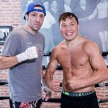 Ruslan Provodnikov (l) and John Molina, Jr. (r) joke around at a recent Press Conference in Los Angeles, Calif.