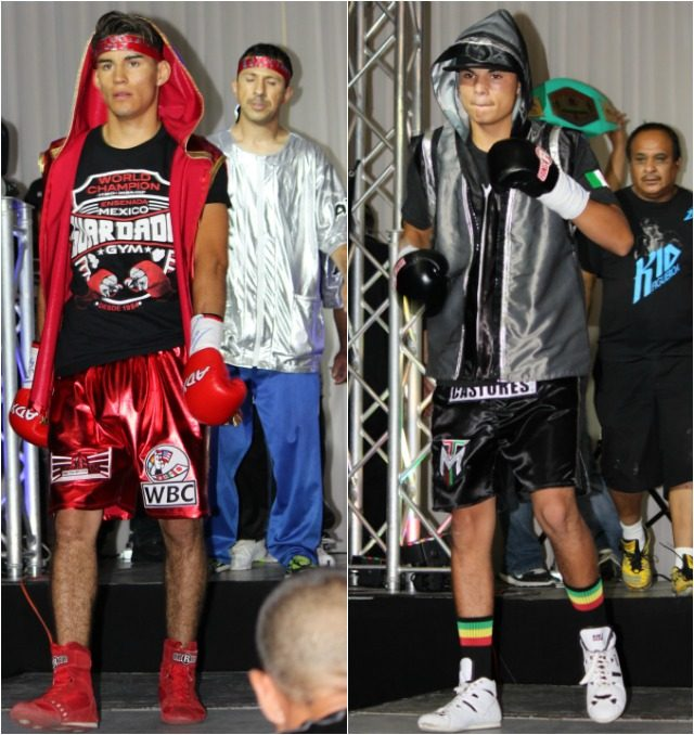 "The two combatants in the Main Event, (l to r) Hector ""El Estidiante"" Ambriz and Bryan ""the Kid"" Figueroa make their entrance."