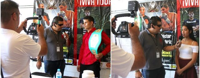 Headliners of the July 15, 2016 boxing show at the Salon Mezzanine in Tijuana are interviewed immediately following the Borizteca Boxing
