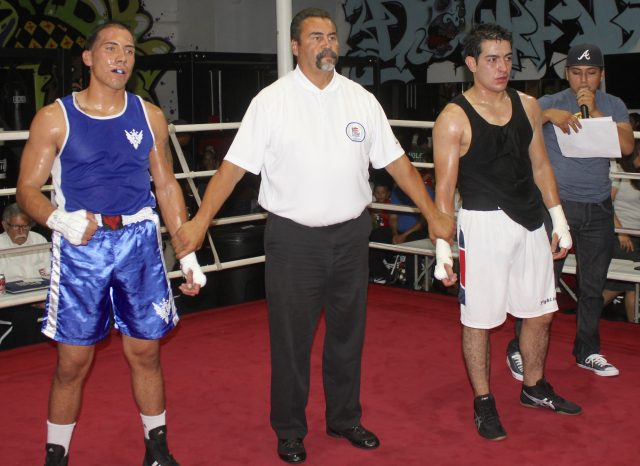 At the conclusion of Bout #1, Cesar Loeza (l) and Edgardo Garcia (r) await the judges' decision with referee Hondo Fontane.