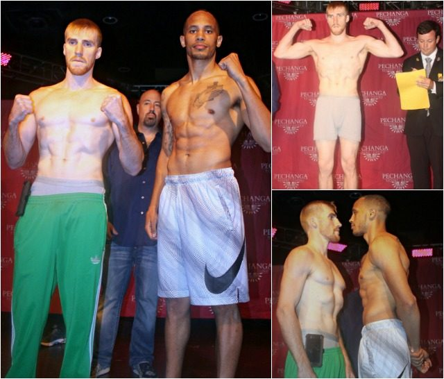 (photo left) Rob Brant (r) and his opponent on Friday night, Chris Fitzpatrick