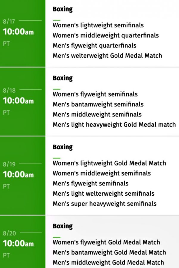 zzz Olympic Boxing Schedule