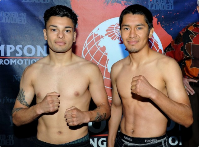 Here we see Danny Andujo (l) and his opponent at the weigh-ins on Thursday.