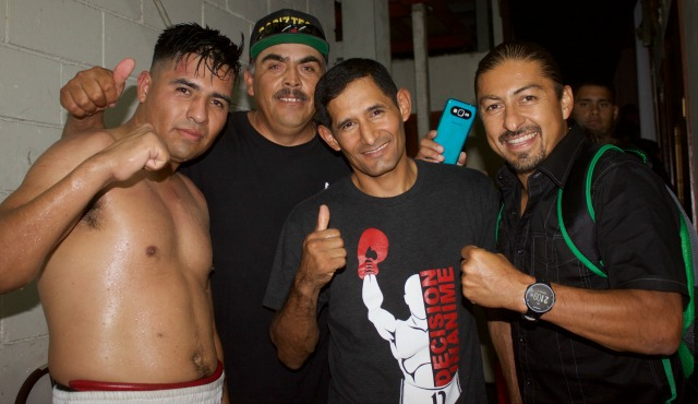 After 14 fights without a victory, Moreno's coach plus corner help were so proud that they had stuck it out with their boxer.