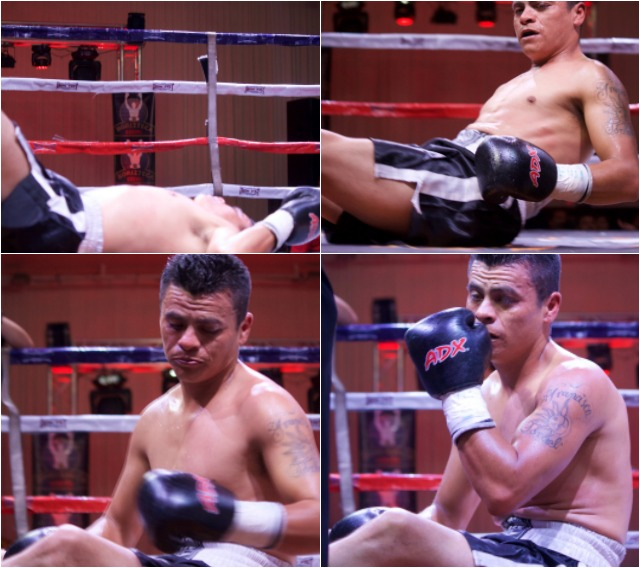After getting hit repeatedly, Israel Pineda found himself sitting on the canvas and wondering what to do.