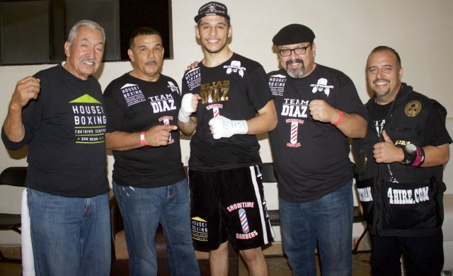 With his bout only lasting 26 seconds we had to get Elias a little more face time so we moved him over to the header position. Elias Diaz (c) is joined by his loyal support team of (l to r) Carlos Barragan Sr., Elias' proud father Greg Diaz, Carlos Barragan and the now famous Cutman4Hire, Juan Ramirez.