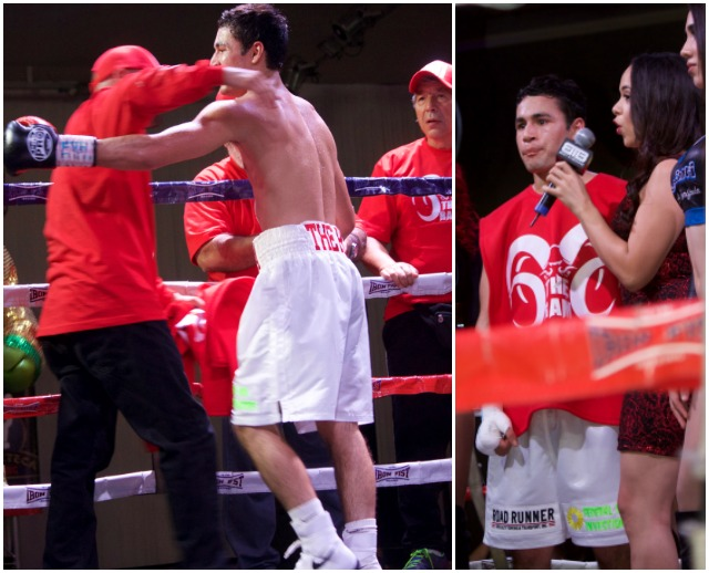 After the stoppage, there were congratulations all around and finally a stop in the center of the ring with one of the show's sportscasters Sahry Sarmiento.