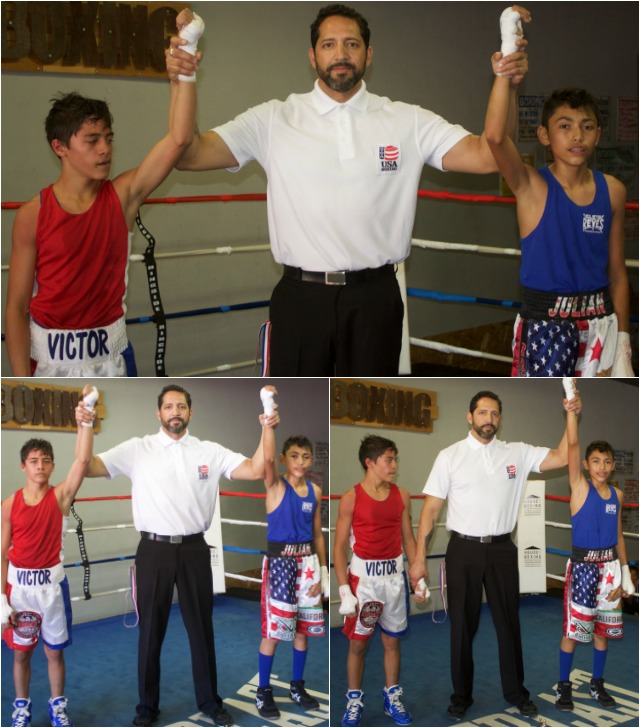 (bottom, right) referee Andrew Moreno raises the arm of the victorious Julian Rojas.