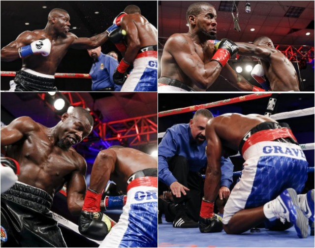 Simply put, Mr. Tabiti (black trunks) is a beast and his jab hit Graves so hard it reminded you of the striking force behind the battering rams the DEA uses ...